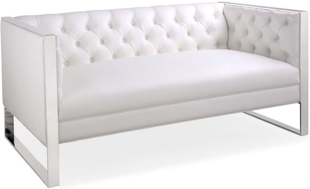 Shankar Oyster White Leather Match Square Edge Tufted Button Sofa