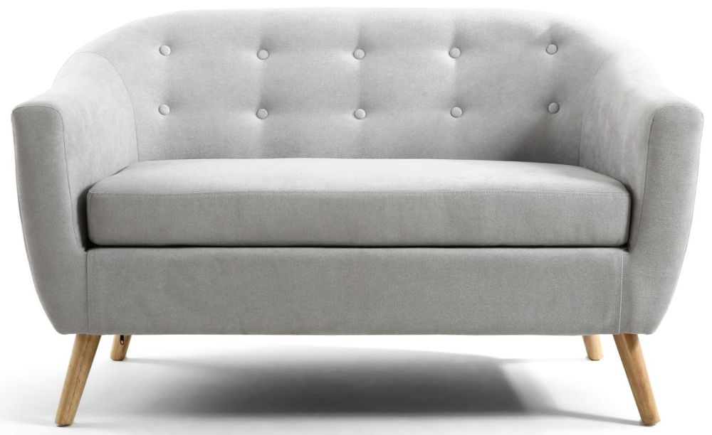 Shankar Silver Grey Button Back Deep Tub Fabric Sofa