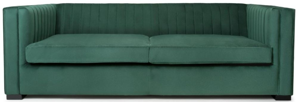 Shankar Victoria Green Brushed Velvet 3 Seater Sofa