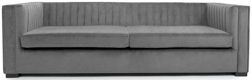 Shankar Victoria Grey Brushed Velvet 4 Seater Sofa