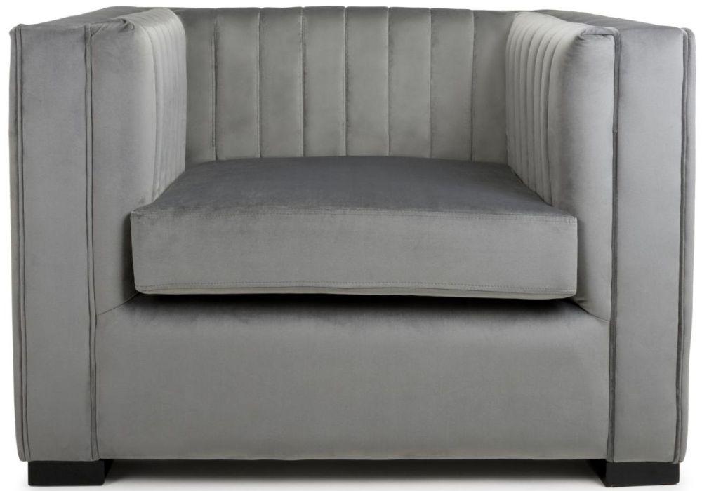 Shankar Victoria Grey Brushed Velvet Armchair
