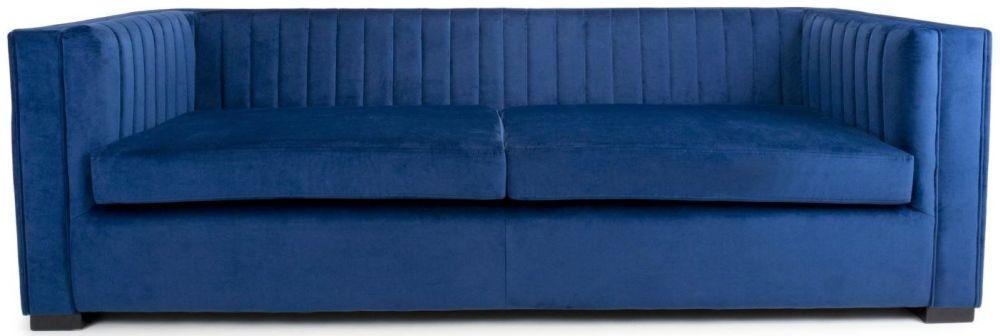 Shankar Victoria Ocean Blue Brushed Velvet 3 Seater Sofa