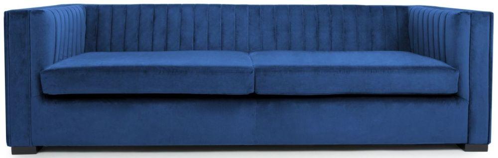 Shankar Victoria Ocean Blue Brushed Velvet 4 Seater Sofa