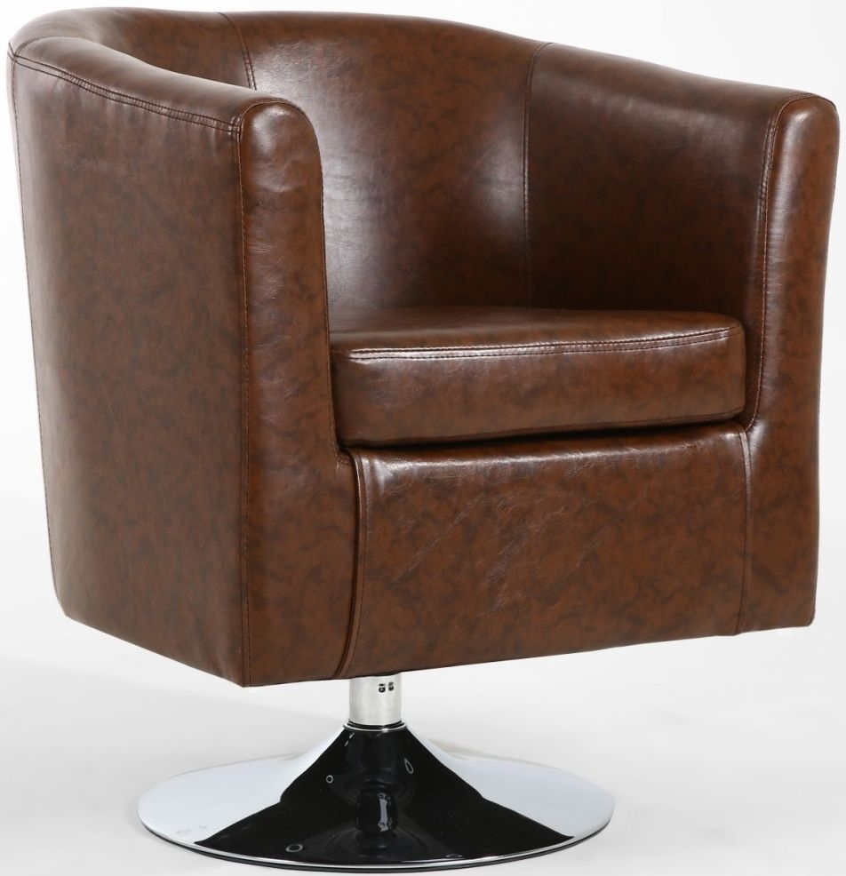 Buy Shankar Antique Brown Leather Match Tub Chair Online - CFS UK