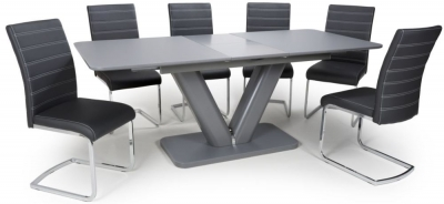 Shankar Venus Grey Glass 160cm-200cm Extending Dining Table with 4 Callisto Black Leather Effect Dining Chairs