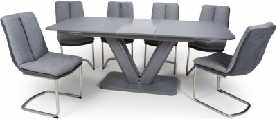 Shankar Venus Grey Glass 160cm-200cm Extending Dining Table with 4 Triton Light Grey Linen Effect Dining Chairs