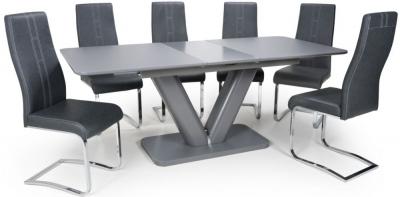 Shankar Venus Grey Glass 160cm-200cm Extending Dining Table with 6 Nova Dark Grey Cantilever Dining Chairs