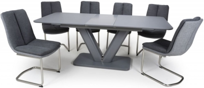 Shankar Venus Grey Glass 160cm-200cm Extending Dining Table with 6 Triton Dark Grey Linen Effect Dining Chairs