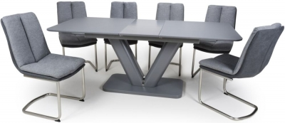 Shankar Venus Grey Glass 160cm-200cm Extending Dining Table with 6 Triton Light Grey Linen Effect Dining Chairs