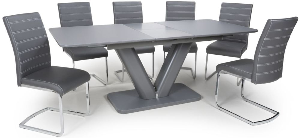 Shankar Venus Grey Glass 160cm-200cm Extending Dining Table with 4 Callisto Grey Leather Effect Dining Chairs
