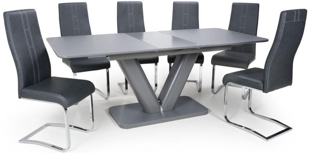 Shankar Venus Grey Glass 160cm-200cm Extending Dining Table with 4 Nova Dark Grey Cantilever Dining Chairs