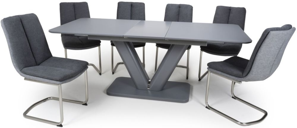 Shankar Venus Grey Glass 160cm-200cm Extending Dining Table with 4 Triton Dark Grey Linen Effect Dining Chairs