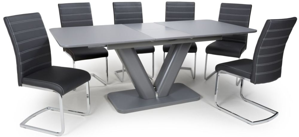 Shankar Venus Grey Glass 160cm-200cm Extending Dining Table with 6 Callisto Black Leather Effect Dining Chairs