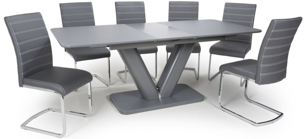 Shankar Venus Grey Glass 160cm-200cm Extending Dining Table with 6 Callisto Grey Leather Effect Dining Chairs