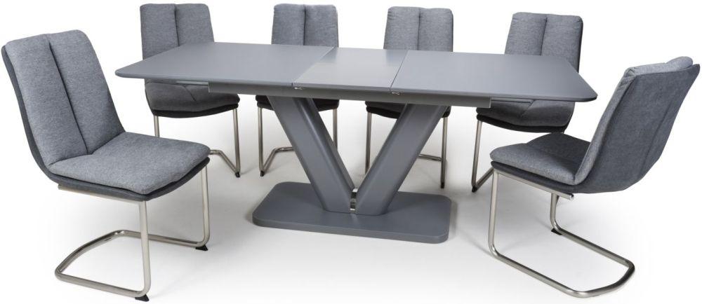 Shankar Venus Grey Glass 160cm-200cm Extending Dining Table with 6 Triton Light Grey Linen Effect Dining Chairs