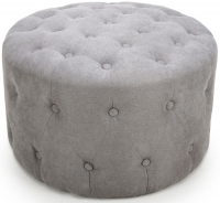 Shankar Verona Light Grey Linen Fabric Round Pouffe