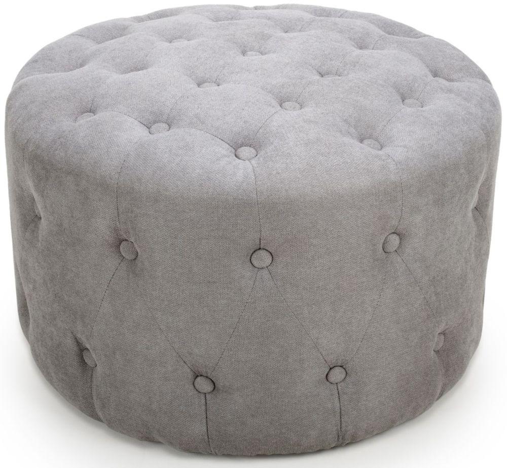 Shankar Verona Light Grey Fabric Round Pouffe