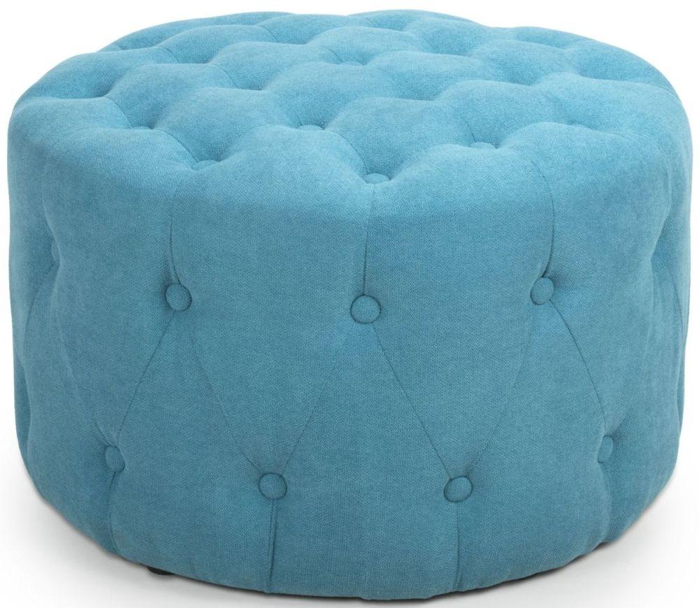 Shankar Verona Turquoise Blue Linen Fabric Round Pouffe