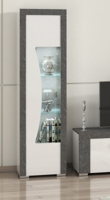 Alfa White and Grey Marble 1 Left Door Italian Cabinet with LED Light