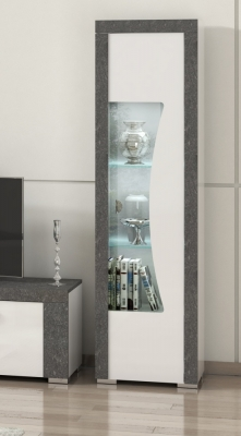 Alfa White and Grey Marble 1 Right Door Italian Cabinet with LED Light