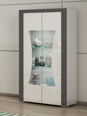 Alfa White and Grey Marble 2 Door Italian Cabinet with LED Light