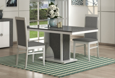 Alfa White and Grey Marble Italian Dining Table and 4 Chair