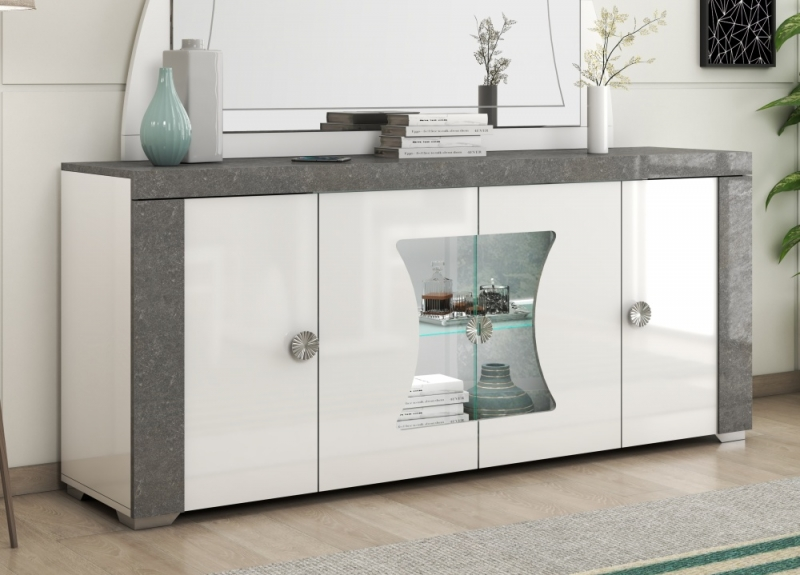 Alfa White and Grey Marble 4 Door Italian Sideboard with LED Light