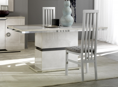 Angelo Grey Marble Italian Dining Table and 4 Wooden Dining Chair