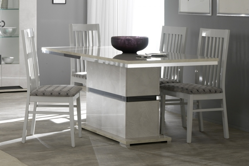 Angelo Grey Marble Italian Dining Table and 4 Dining Chair