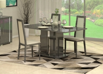 Augusta Oak Italian Extending Dining Table and 4 Wooden Chair