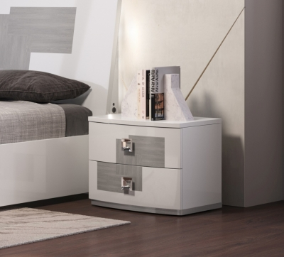 Betty High Gloss White and Grey 2 Drawer Italian Bedside Cabinet