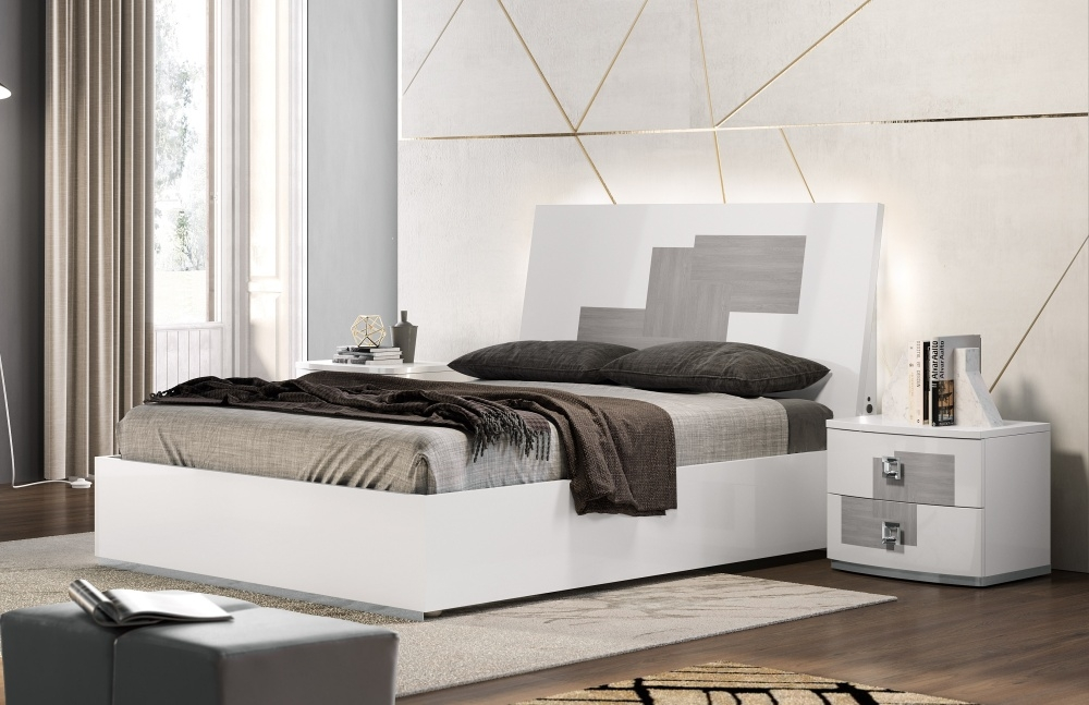 Betty High Gloss White and Grey Italian Bed