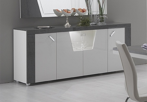Delia White and Grey 4 Door Italian Sideboard with LED Light
