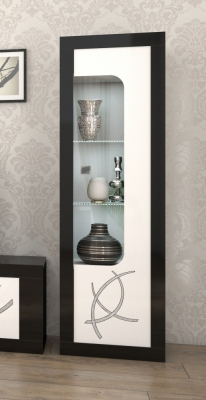 Enna Black and White 1 Right Door Glass Italian Cabinet with LED Light