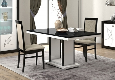 Enna Black and White Italian Dining Table and 4 Chair