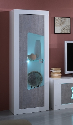 Flavia White and Grey 1 Left Door Italian Cabinet with LED Light