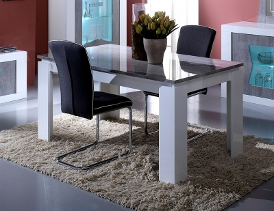 Flavia White and Grey Italian Extending Dining Table