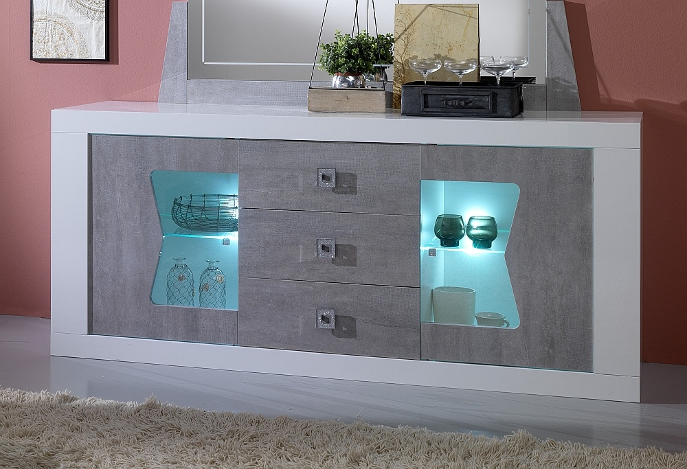 Flavia White and Grey 2 Door 3 Drawer Italian Sideboard with LED Light