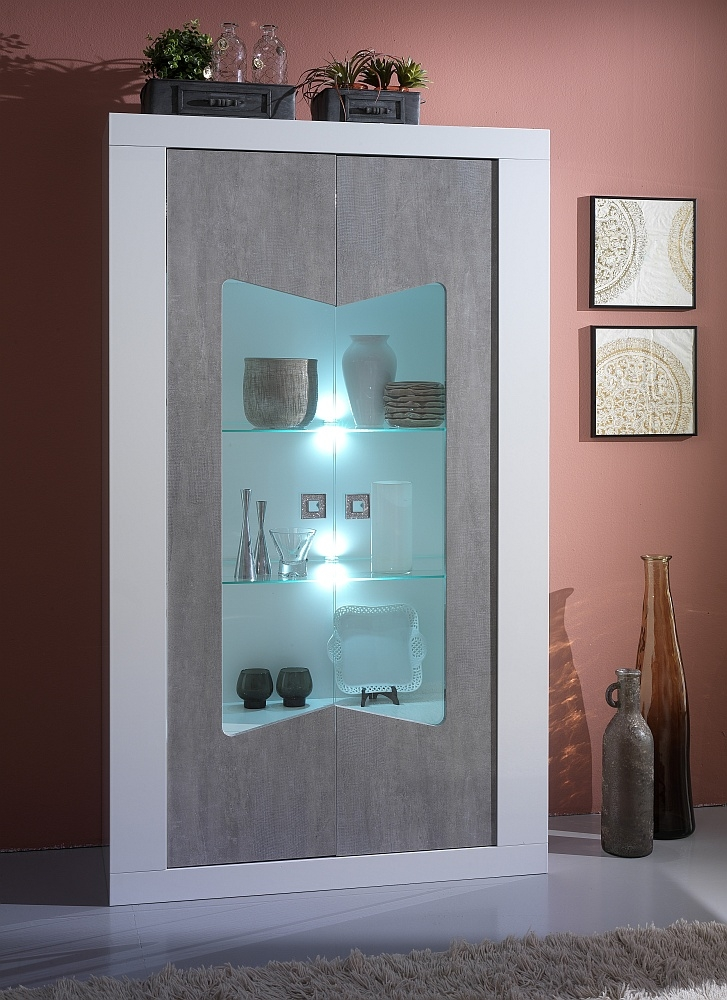 Flavia White and Grey 2 Door Italian Cabinet with LED Light