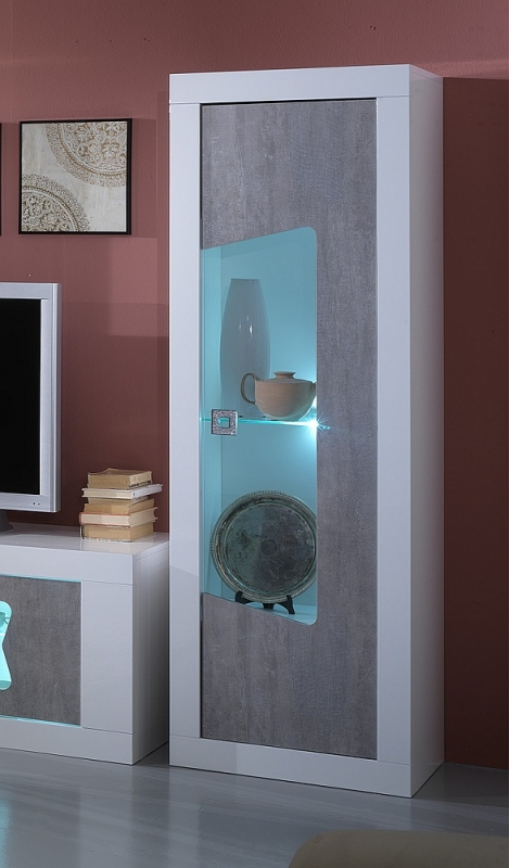 Flavia White and Grey 1 Right Door Italian Cabinet with LED Light