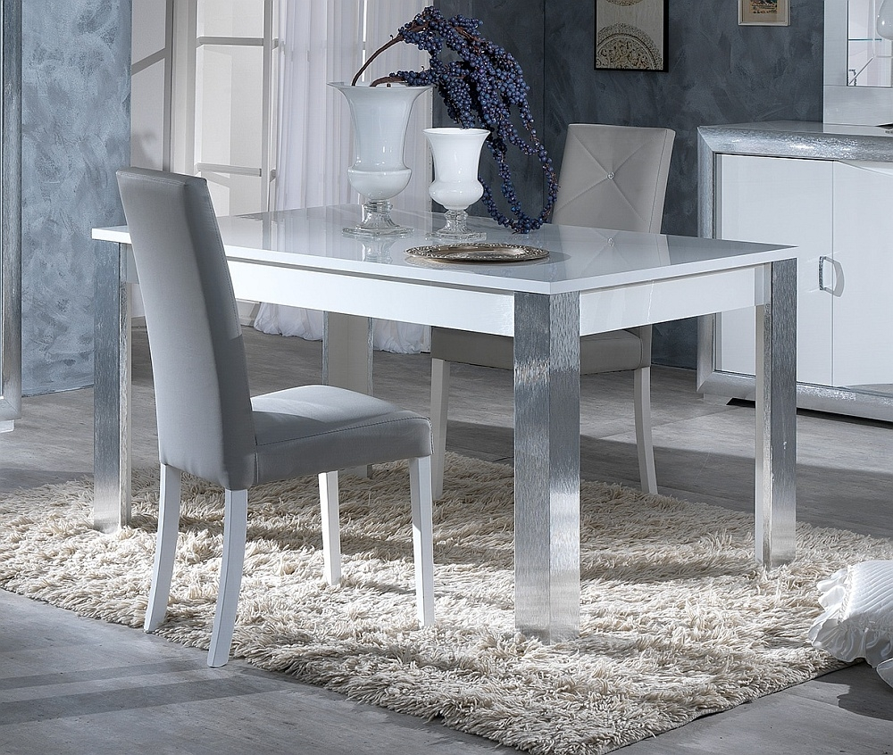 Leni White and Silver Italian Extending Dining Table