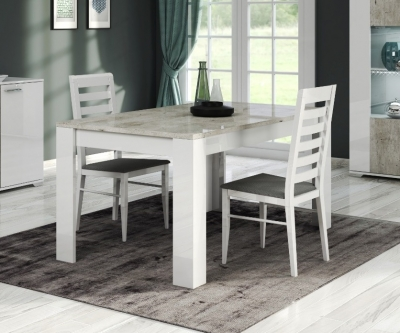 Messina White and Concrete Grey Italian Dining Table and 4 Chair