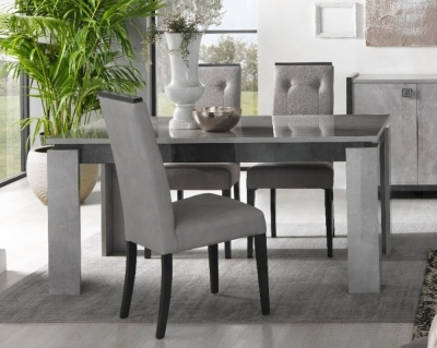 Milo Grey Marble Effect Italain Extending Dining Table and 4 Chair