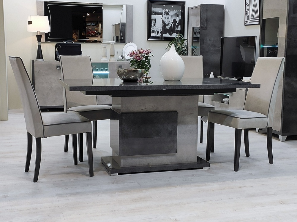 Milo Grey Marble Effect Pedestal Italian Extending Dining Table and 4 Chair