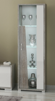 Naro Dove Grey and White 1 Right Door Glass Italian Cabinet with LED Light