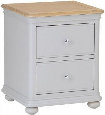 Annecy Oak and Soft Grey Painted 2 Drawer Bedside Cabinet