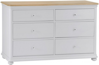 Annecy Oak and Soft Grey Painted 6 Drawer Chest
