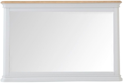 Annecy Oak and Soft Grey Painted Rectangular Wall Mirror - 100cm x 65cm