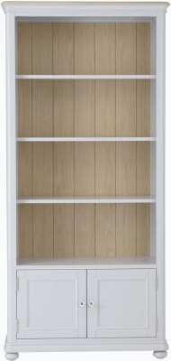 Annecy Oak and Soft Grey Painted 2 Door Tall Bookcase