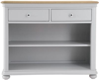 Annecy Oak and Soft Grey Painted 2 Drawer Bookcase